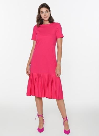 Loves You Eteği Piliseli Kısa Kol Cotton Elbise Fuşya
